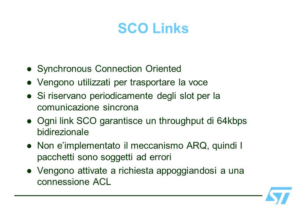 SCO Links Synchronous Connection Oriented Vengono utilizzati per trasportare la voce Si riservano periodicamente degli slot per la comunicazione sincr