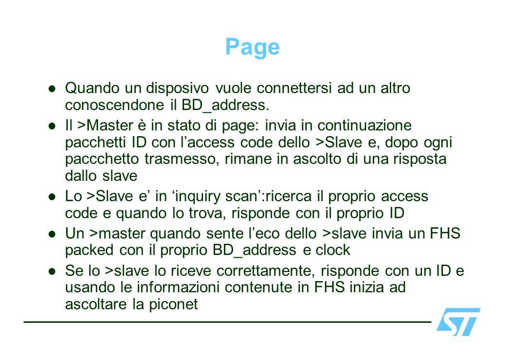 Page Quando un disposivo vuole connettersi ad un altro conoscendone il BD_address. Il >Master è in stato di page: invia in continuazione pacchetti ID