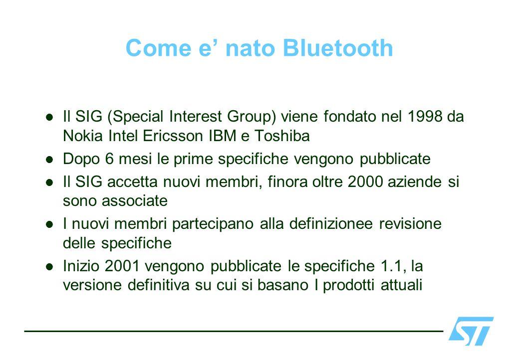 Come e nato Bluetooth Il SIG (Special Interest Group) viene fondato nel 1998 da Nokia Intel Ericsson IBM e Toshiba Dopo 6 mesi le prime specifiche ven