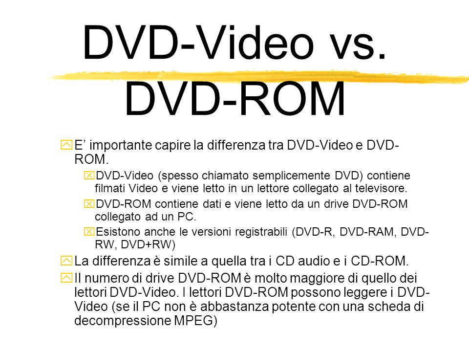DVD-Video vs. DVD-ROM E importante capire la differenza tra DVD-Video e DVD- ROM.