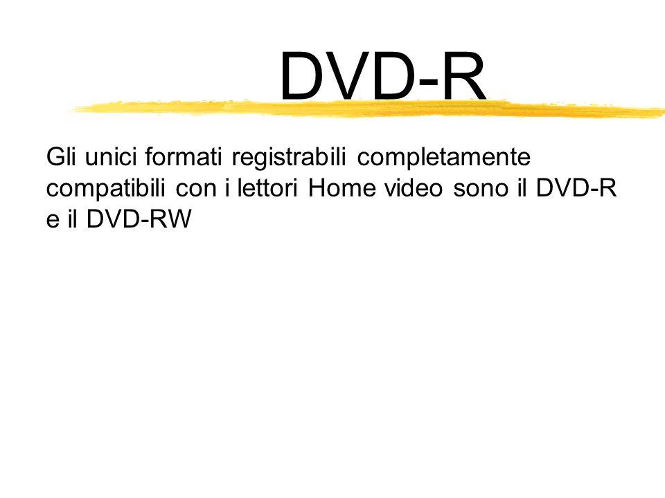 DVD-R Gli unici formati registrabili completamente compatibili con i lettori Home video sono il DVD-R e il DVD-RW