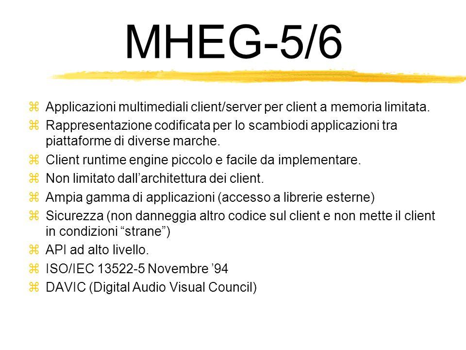 MHEG-5/6 Applicazioni multimediali client/server per client a memoria limitata.