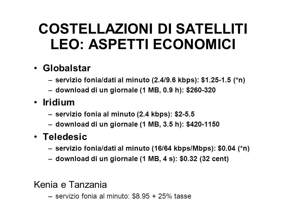 COSTELLAZIONI DI SATELLITI LEO: ASPETTI ECONOMICI Globalstar –servizio fonia/dati al minuto (2.4/9.6 kbps): $1.25-1.5 (*n) –download di un giornale (1 MB, 0.9 h): $260-320 Iridium –servizio fonia al minuto (2.4 kbps): $2-5.5 –download di un giornale (1 MB, 3.5 h): $420-1150 Teledesic –servizio fonia/dati al minuto (16/64 kbps/Mbps): $0.04 (*n) –download di un giornale (1 MB, 4 s): $0.32 (32 cent) Kenia e Tanzania –servizio fonia al minuto: $8.95 + 25% tasse