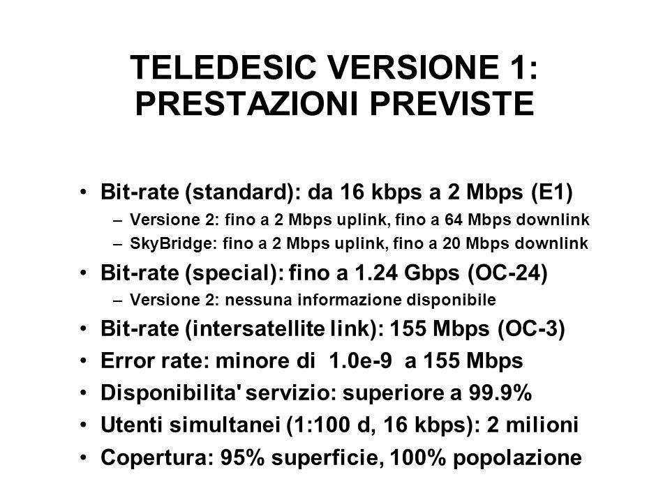 TELEDESIC VERSIONE 1: PRESTAZIONI PREVISTE Bit-rate (standard): da 16 kbps a 2 Mbps (E1) –Versione 2: fino a 2 Mbps uplink, fino a 64 Mbps downlink –SkyBridge: fino a 2 Mbps uplink, fino a 20 Mbps downlink Bit-rate (special): fino a 1.24 Gbps (OC-24) –Versione 2: nessuna informazione disponibile Bit-rate (intersatellite link): 155 Mbps (OC-3) Error rate: minore di 1.0e-9 a 155 Mbps Disponibilita servizio: superiore a 99.9% Utenti simultanei (1:100 d, 16 kbps): 2 milioni Copertura: 95% superficie, 100% popolazione