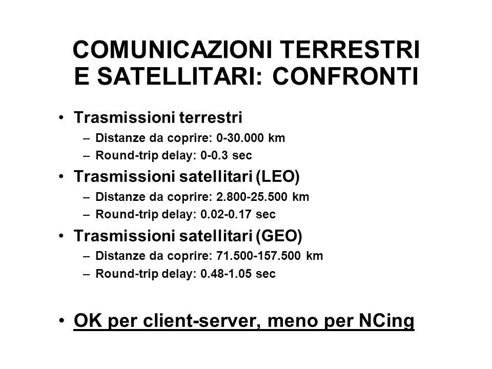 COMUNICAZIONI TERRESTRI E SATELLITARI: CONFRONTI Trasmissioni terrestri –Distanze da coprire: 0-30.000 km –Round-trip delay: 0-0.3 sec Trasmissioni satellitari (LEO) –Distanze da coprire: 2.800-25.500 km –Round-trip delay: 0.02-0.17 sec Trasmissioni satellitari (GEO) –Distanze da coprire: 71.500-157.500 km –Round-trip delay: 0.48-1.05 sec OK per client-server, meno per NCing