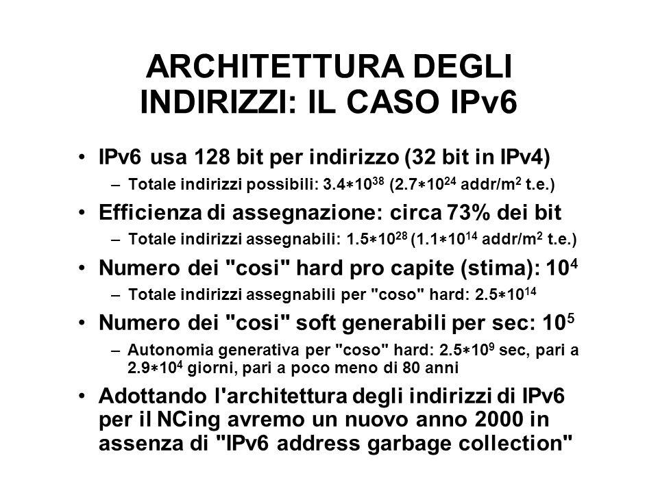 ARCHITETTURA DEGLI INDIRIZZI: IL CASO IPv6 IPv6 usa 128 bit per indirizzo (32 bit in IPv4) –Totale indirizzi possibili: 3.4 10 38 (2.7 10 24 addr/m 2 t.e.) Efficienza di assegnazione: circa 73% dei bit –Totale indirizzi assegnabili: 1.5 10 28 (1.1 10 14 addr/m 2 t.e.) Numero dei cosi hard pro capite (stima): 10 4 –Totale indirizzi assegnabili per coso hard: 2.5 10 14 Numero dei cosi soft generabili per sec: 10 5 –Autonomia generativa per coso hard: 2.5 10 9 sec, pari a 2.9 10 4 giorni, pari a poco meno di 80 anni Adottando l architettura degli indirizzi di IPv6 per il NCing avremo un nuovo anno 2000 in assenza di IPv6 address garbage collection