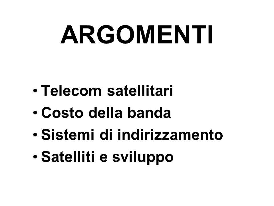 ARGOMENTI Telecom satellitari Costo della banda Sistemi di indirizzamento Satelliti e sviluppo