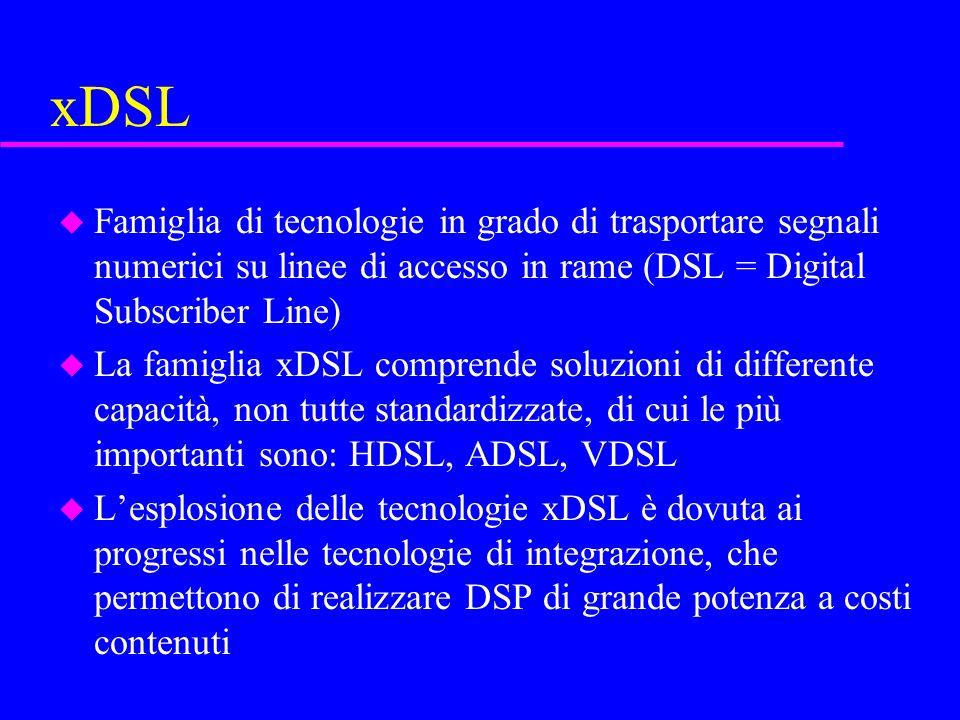 xDSL u Famiglia di tecnologie in grado di trasportare segnali numerici su linee di accesso in rame (DSL = Digital Subscriber Line) u La famiglia xDSL