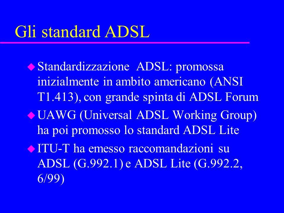 Gli standard ADSL u Standardizzazione ADSL: promossa inizialmente in ambito americano (ANSI T1.413), con grande spinta di ADSL Forum u UAWG (Universal