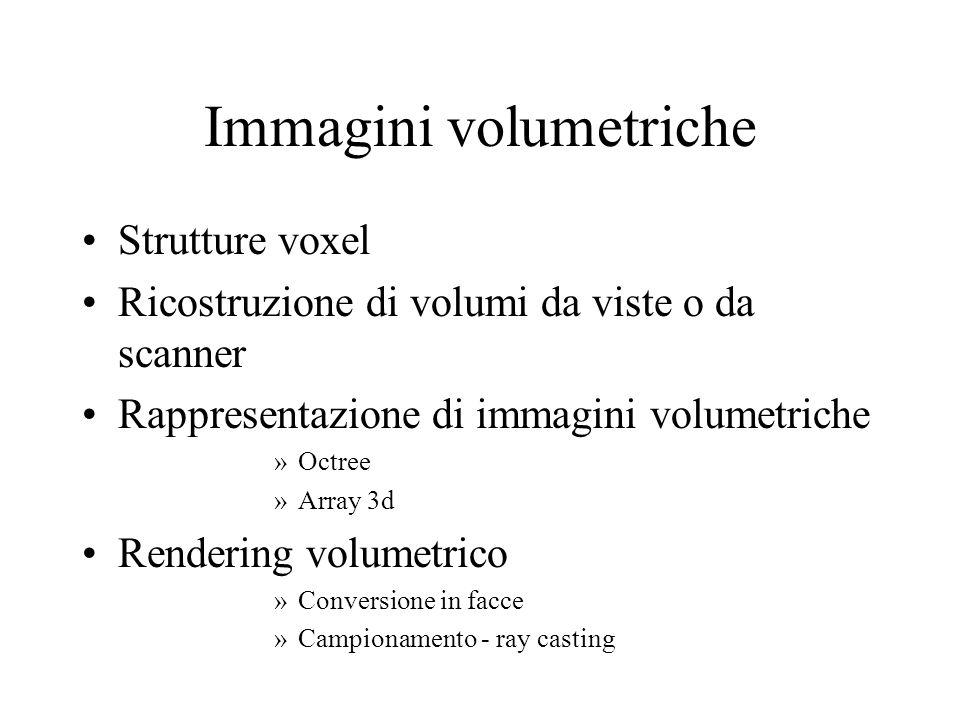 Immagini volumetriche Strutture voxel Ricostruzione di volumi da viste o da scanner Rappresentazione di immagini volumetriche »Octree »Array 3d Render