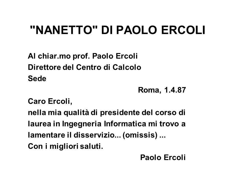 NANETTO DI PAOLO ERCOLI Al chiar.mo prof.