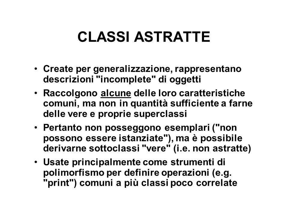 CLASSI ASTRATTE Create per generalizzazione, rappresentano descrizioni