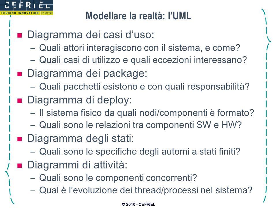 © 2010 - CEFRIEL Modellare la realtà: lUML Diagramma dei casi duso: –Quali attori interagiscono con il sistema, e come? –Quali casi di utilizzo e qual