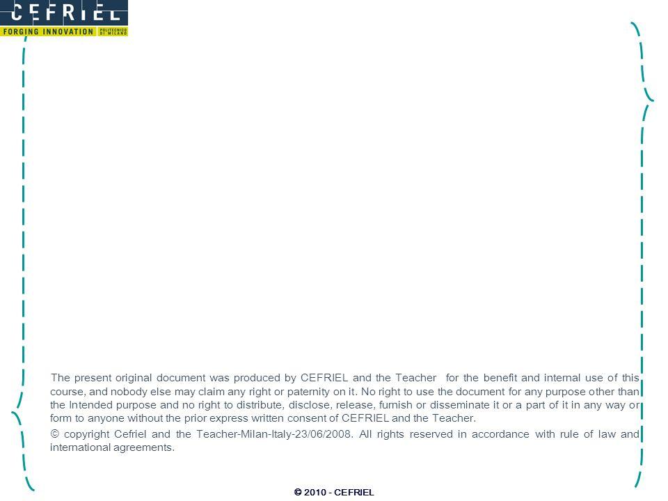 © 2010 - CEFRIEL Esempio precedente in esecuzione spedisciMail Mittente new Conessione inviaDati chiudi tempo stack Record di attivazione Oggetti Messaggi