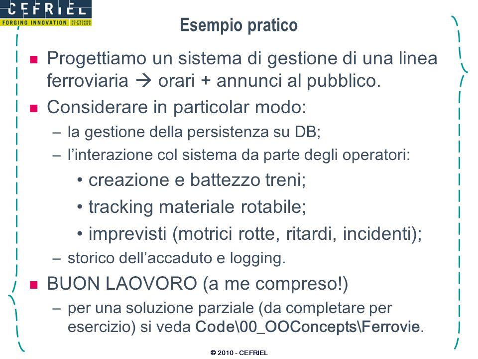 © 2010 - CEFRIEL Esempio pratico Progettiamo un sistema di gestione di una linea ferroviaria orari + annunci al pubblico. Considerare in particolar mo