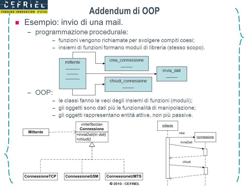 © 2010 - CEFRIEL Addendum di OOP Esempio: invio di una mail. –programmazione procedurale: –funzioni vengono richiamate per svolgere compiti coesi; –in