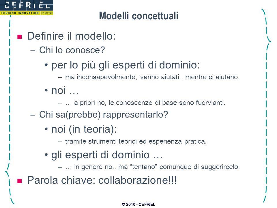 © 2010 - CEFRIEL Modelli concettuali Definire il modello: –Chi lo conosce? per lo più gli esperti di dominio: –ma inconsapevolmente, vanno aiutati.. m