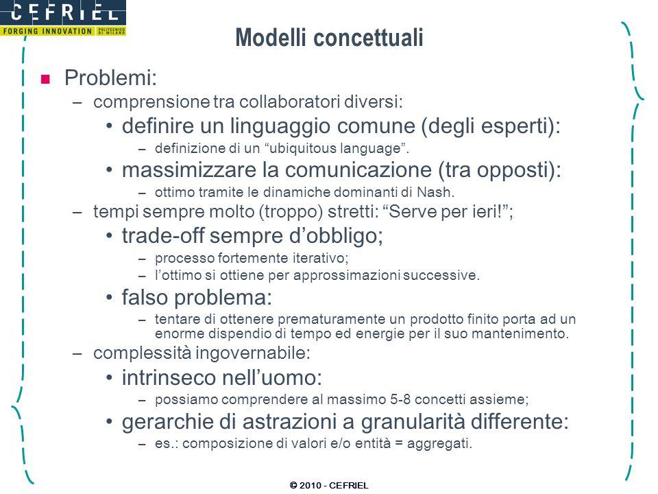 © 2010 - CEFRIEL Modelli concettuali Problemi: –comprensione tra collaboratori diversi: definire un linguaggio comune (degli esperti): –definizione di