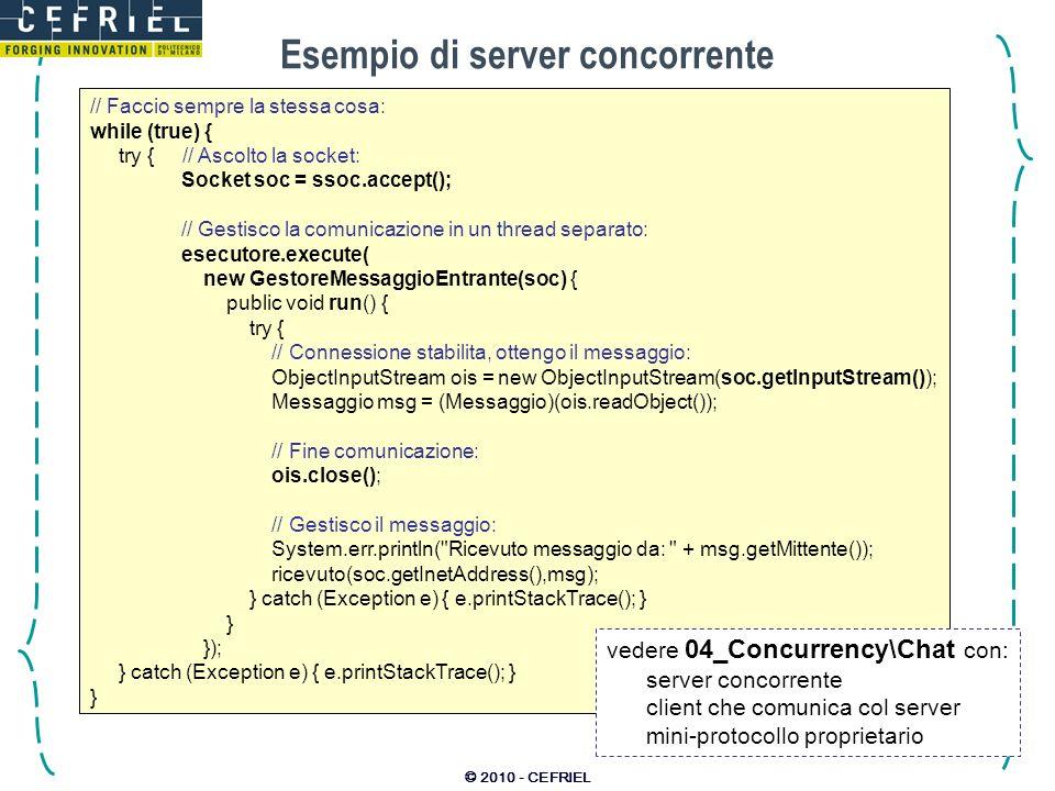 © 2010 - CEFRIEL Esempio di server concorrente // Faccio sempre la stessa cosa: while (true) { try { // Ascolto la socket: Socket soc = ssoc.accept();