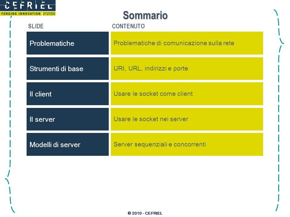 © 2010 - CEFRIEL Sommario SLIDECONTENUTO Problematiche Problematiche di comunicazione sulla rete Strumenti di base URI, URL, indirizzi e porte Il serv