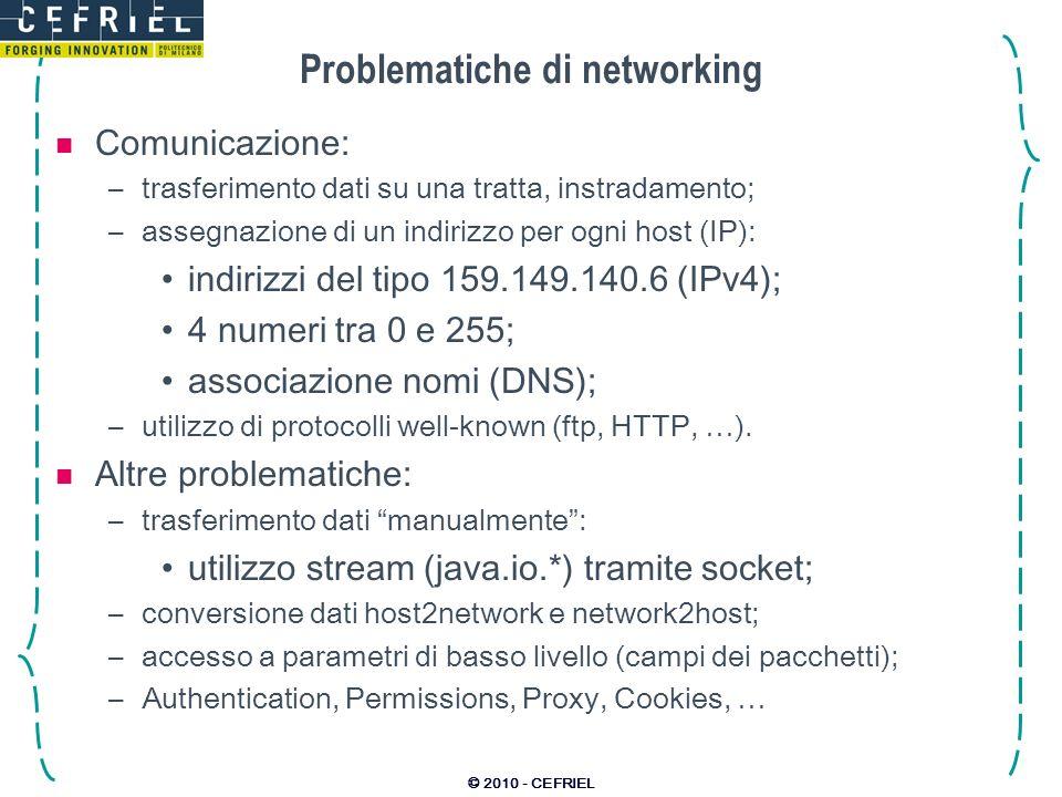 © 2010 - CEFRIEL Problematiche di networking Comunicazione: –trasferimento dati su una tratta, instradamento; –assegnazione di un indirizzo per ogni h