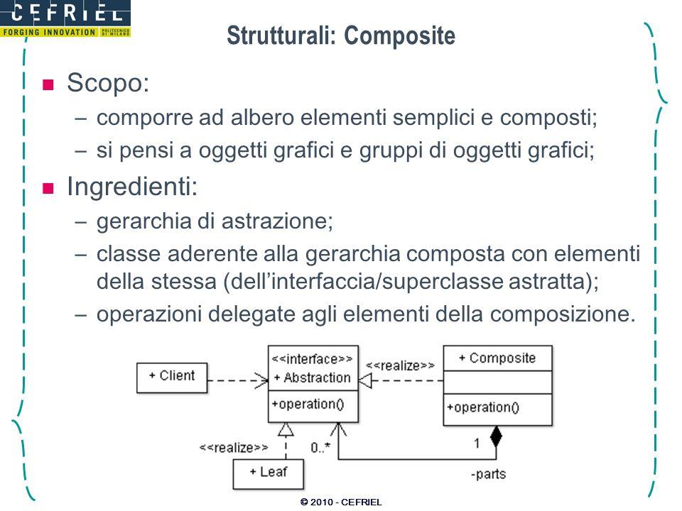 © 2010 - CEFRIEL Strutturali: Composite Scopo: –comporre ad albero elementi semplici e composti; –si pensi a oggetti grafici e gruppi di oggetti grafi