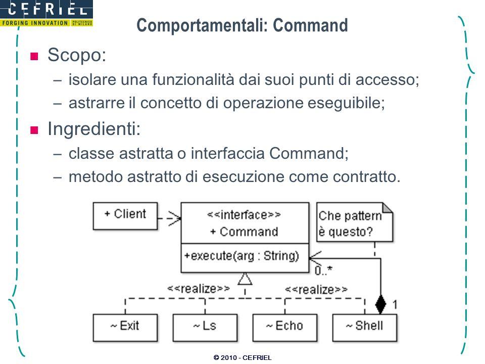 © 2010 - CEFRIEL Comportamentali: Command Scopo: –isolare una funzionalità dai suoi punti di accesso; –astrarre il concetto di operazione eseguibile;