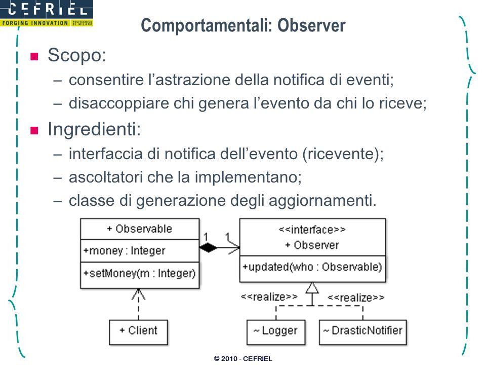 © 2010 - CEFRIEL Comportamentali: Observer Scopo: –consentire lastrazione della notifica di eventi; –disaccoppiare chi genera levento da chi lo riceve