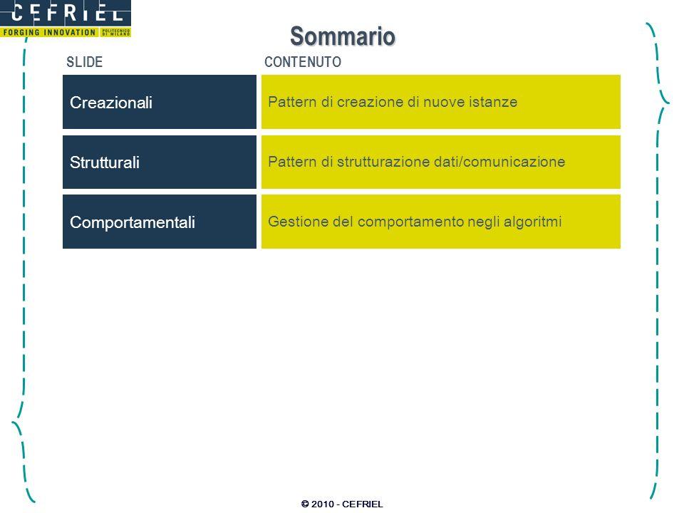 © 2010 - CEFRIEL Sommario SLIDECONTENUTO Creazionali Pattern di creazione di nuove istanze Strutturali Pattern di strutturazione dati/comunicazione Co