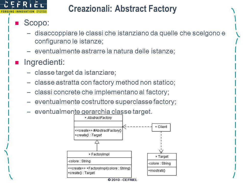 © 2010 - CEFRIEL Creazionali: Abstract Factory Scopo: –disaccoppiare le classi che istanziano da quelle che scelgono e configurano le istanze; –eventu