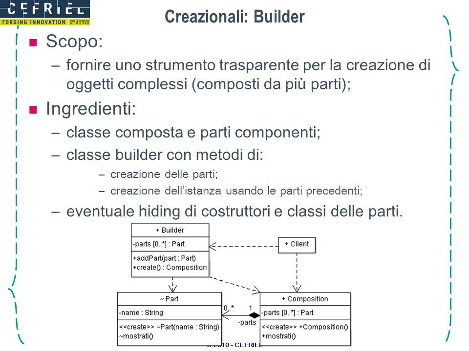 © 2010 - CEFRIEL Creazionali: Builder Scopo: –fornire uno strumento trasparente per la creazione di oggetti complessi (composti da più parti); Ingredi