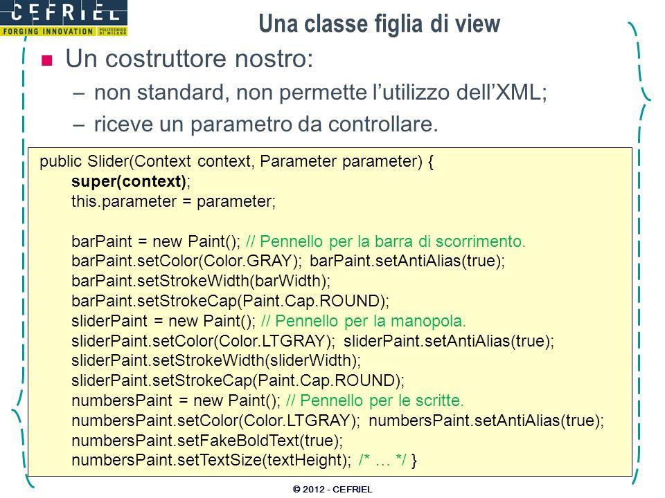 Una classe figlia di view Un costruttore nostro: –non standard, non permette lutilizzo dellXML; –riceve un parametro da controllare.