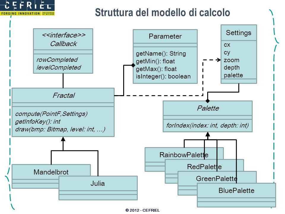 Tipo di frattale e parametri Scelta del tipo di frattale: –scelta multipla equivalente di una ComboBox: Spinner utilizza una lista adapter; –allevento di selezione del frattale: creiamo unistanza della classe giusta; eliminiamo i controlli esistenti; creiamo i controlli nuovi per i parametri; Controlli dei parametri: –supportiamo solo parametri float o int; –supportiamo estremi min e max: definendo il tipo di input come decimale; –possiamo usare un EditText oppure una SeekBar: supporta solo interi tra 0 e N; lavoriamo con una percentuale… poi scaliamo e trasliamo noi i sistema di riferimento.
