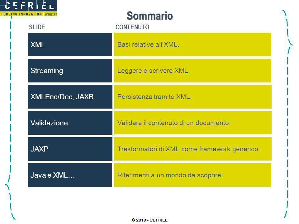 © 2010 - CEFRIEL XML: eXtendible Markup Language eXtendible: –lXML è un meta-linguaggio, è quindi possibile definirne istanze proprietarie che lo estendano; –nuovi tag e nuovi attributi possono essere definiti, assieme alle regole grammaticali per utilizzarli.