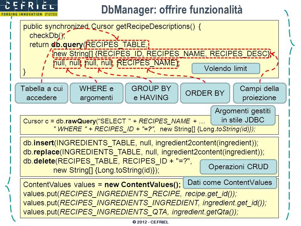 DbManager: offrire funzionalità © 2012 - CEFRIEL public synchronized Cursor getRecipeDescriptions() { checkDb(); return db.query(RECIPES_TABLE, new St