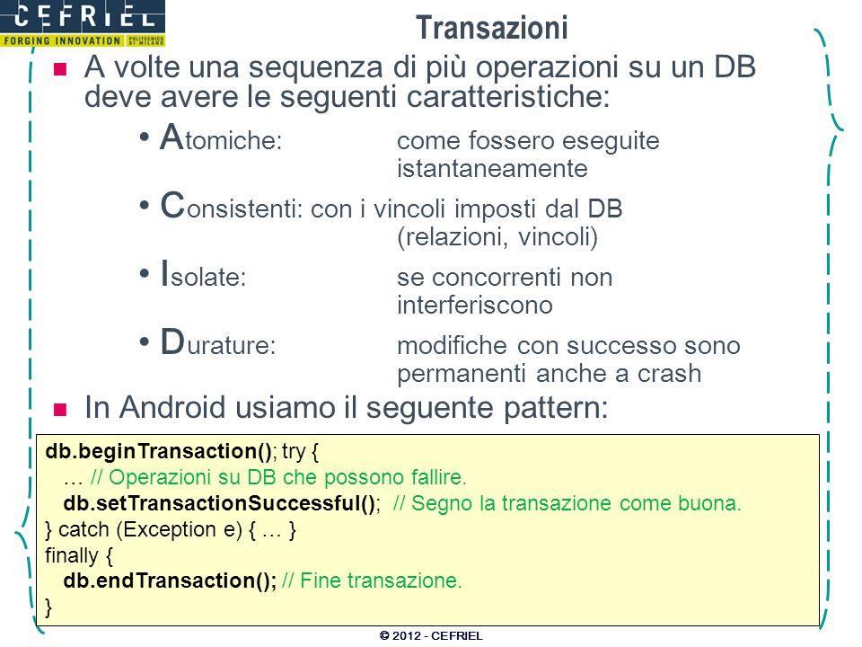 A volte una sequenza di più operazioni su un DB deve avere le seguenti caratteristiche: A tomiche:come fossero eseguite istantaneamente C onsistenti:c