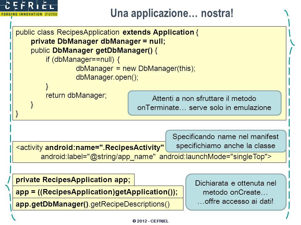 Una applicazione… nostra! © 2012 - CEFRIEL public class RecipesApplication extends Application { private DbManager dbManager = null; public DbManager