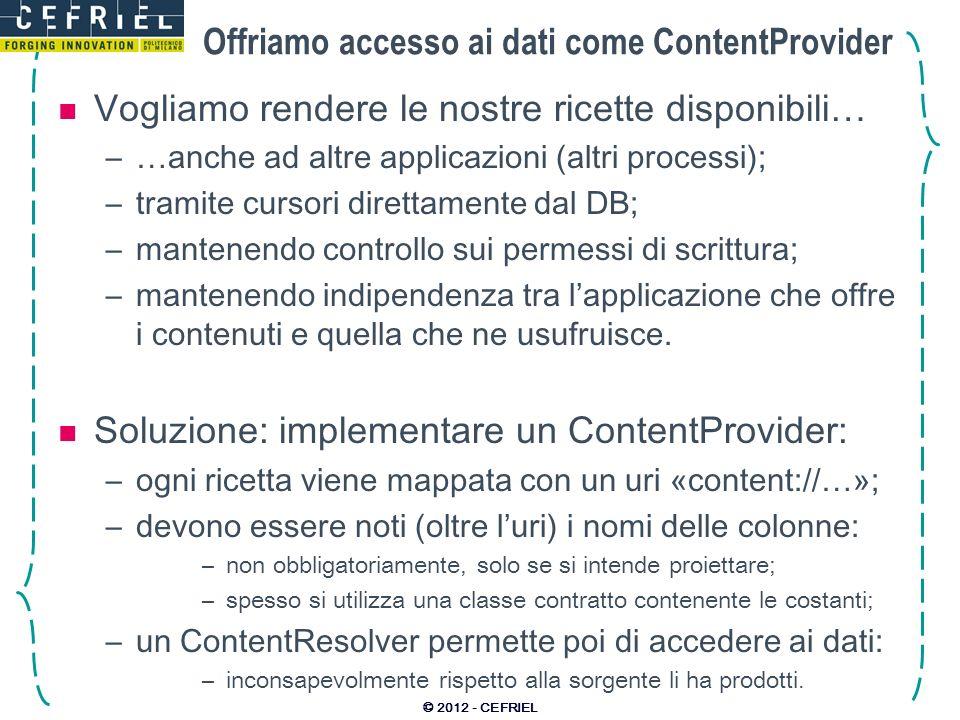 Offriamo accesso ai dati come ContentProvider Vogliamo rendere le nostre ricette disponibili… –…anche ad altre applicazioni (altri processi); –tramite