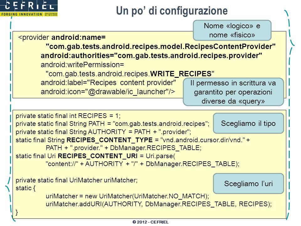 Un po di configurazione © 2012 - CEFRIEL <provider android:name=