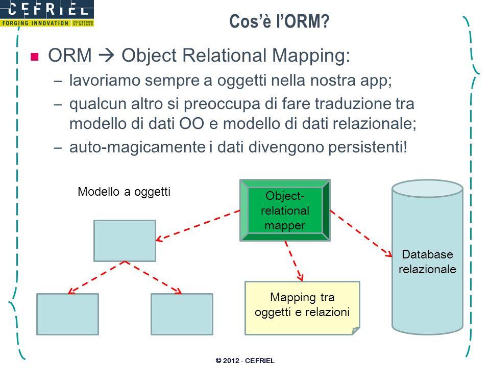Cosè lORM? ORM Object Relational Mapping: –lavoriamo sempre a oggetti nella nostra app; –qualcun altro si preoccupa di fare traduzione tra modello di