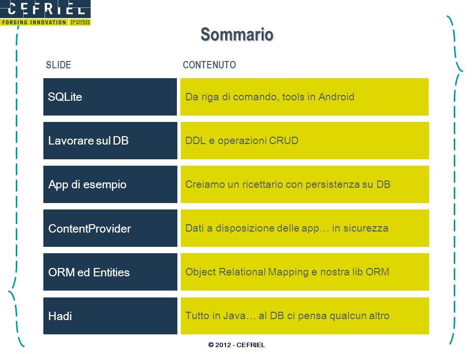 © 2012 - CEFRIEL Sommario SLIDECONTENUTO SQLite Da riga di comando, tools in Android Lavorare sul DB DDL e operazioni CRUD ORM ed Entities Object Rela