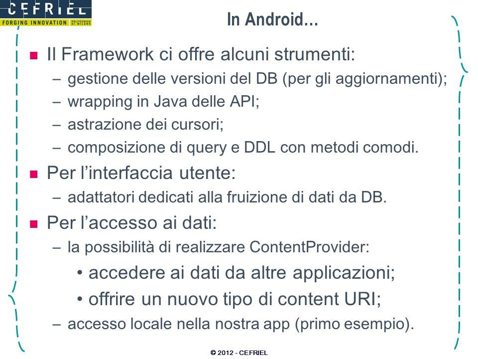 In Android… Il Framework ci offre alcuni strumenti: –gestione delle versioni del DB (per gli aggiornamenti); –wrapping in Java delle API; –astrazione