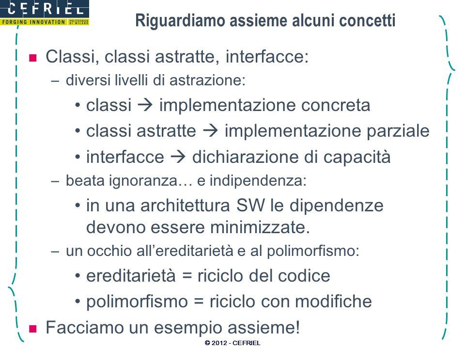Riguardiamo assieme alcuni concetti Classi, classi astratte, interfacce: –diversi livelli di astrazione: classi implementazione concreta classi astrat