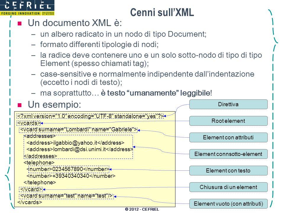 Cenni sullXML © 2012 - CEFRIEL Un documento XML è: –un albero radicato in un nodo di tipo Document; –formato differenti tipologie di nodi; –la radice