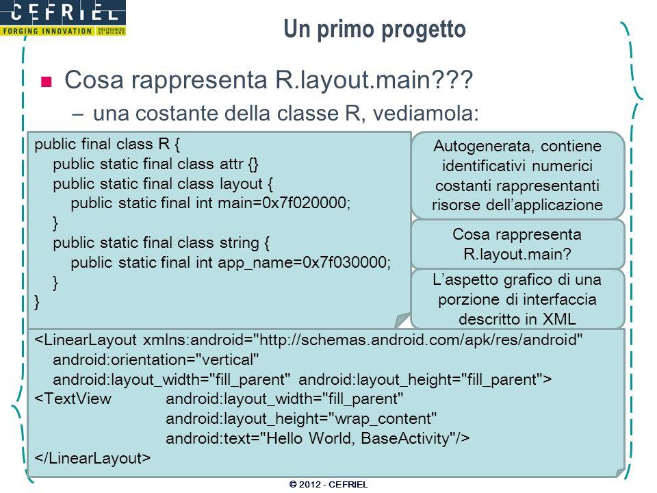 Un primo progetto Cosa rappresenta R.layout.main??? –una costante della classe R, vediamola: © 2012 - CEFRIEL public final class R { public static fin