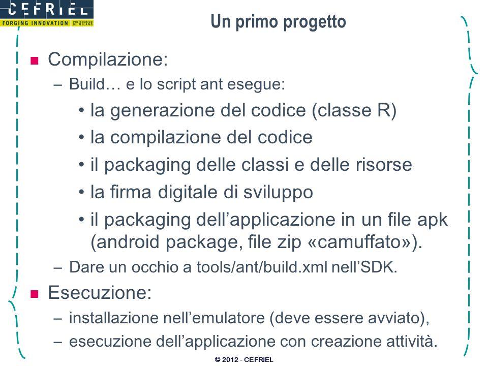 Un primo progetto Compilazione: –Build… e lo script ant esegue: la generazione del codice (classe R) la compilazione del codice il packaging delle cla