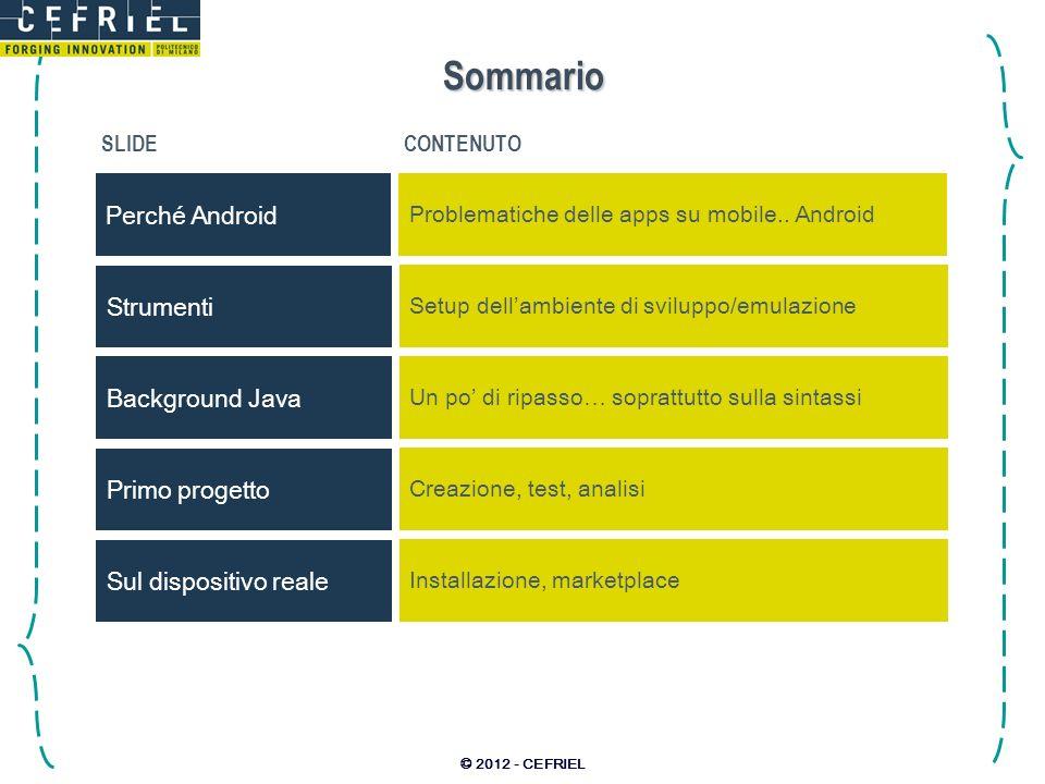 © 2012 - CEFRIEL Sommario SLIDECONTENUTO Perché Android Problematiche delle apps su mobile.. Android Background Java Un po di ripasso… soprattutto sul
