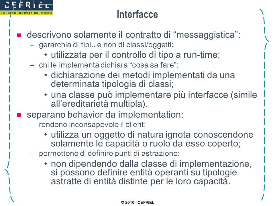 © 2010 - CEFRIEL Interfacce descrivono solamente il contratto di messaggistica: –gerarchia di tipi..