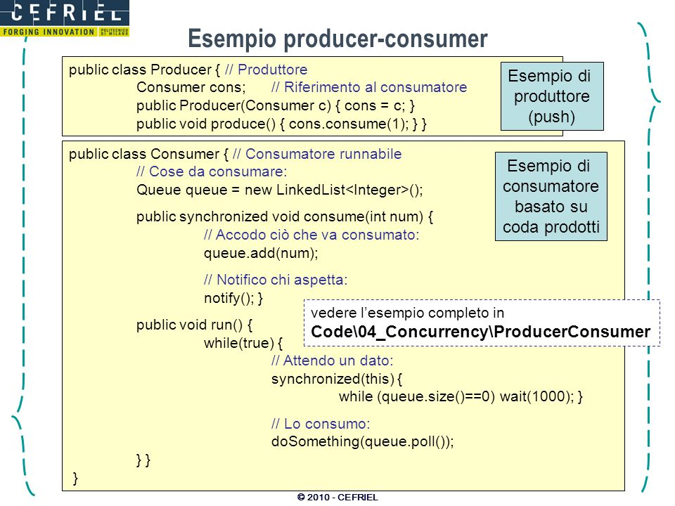 © 2010 - CEFRIEL Esempio producer-consumer public class Producer { // Produttore Consumer cons;// Riferimento al consumatore public Producer(Consumer c) { cons = c; } public void produce() { cons.consume(1); } } Esempio di produttore (push) public class Consumer { // Consumatore runnabile // Cose da consumare: Queue queue = new LinkedList (); public synchronized void consume(int num) { // Accodo ciò che va consumato: queue.add(num); // Notifico chi aspetta: notify(); } public void run() { while(true) { // Attendo un dato: synchronized(this) { while (queue.size()==0) wait(1000); } // Lo consumo: doSomething(queue.poll()); } } } Esempio di consumatore basato su coda prodotti vedere lesempio completo in Code\04_Concurrency\ProducerConsumer