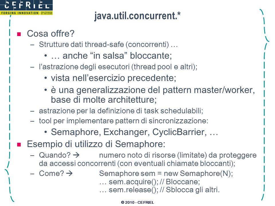 © 2010 - CEFRIEL java.util.concurrent.* Cosa offre.